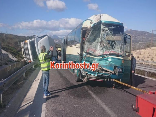 Τροχαίο λεωφορείου των ΚΤΕΛ με φορτηγό στην Εθνική Κορίνθου Τρίπολης