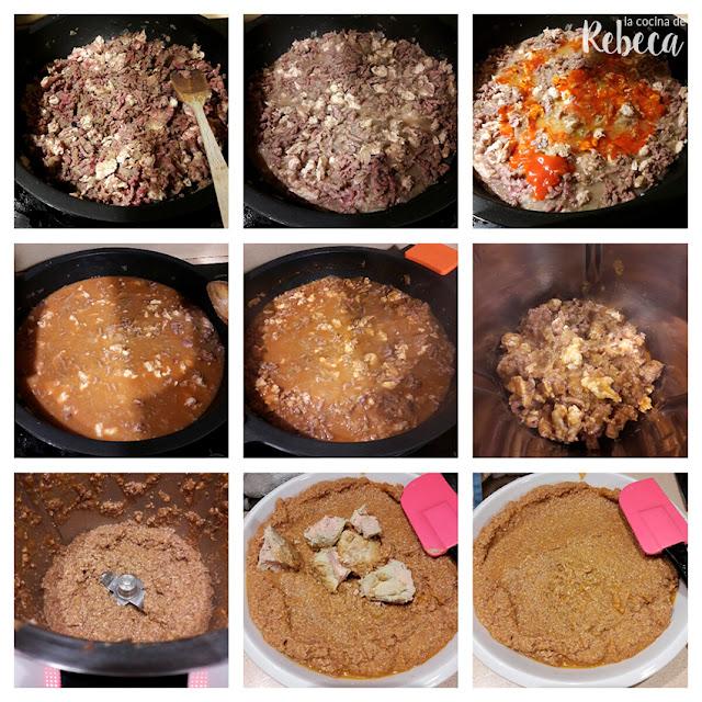 Receta de canelones a la catalana o de San Esteban: cocinar el relleno