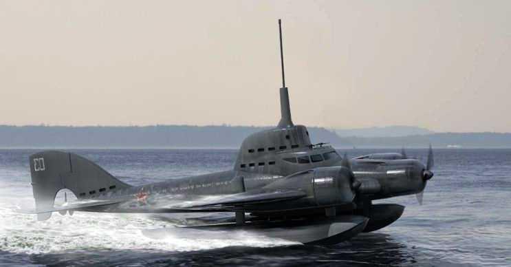 Flying Submarine hem denizin üstünde hem de altında gidebilen bir araçtı.