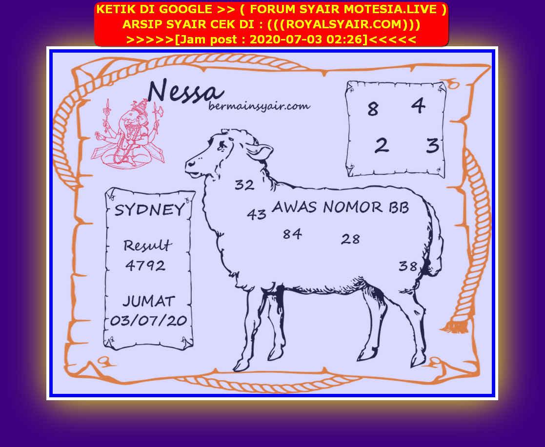 Kode syair Sydney Jumat 3 Juli 2020 234