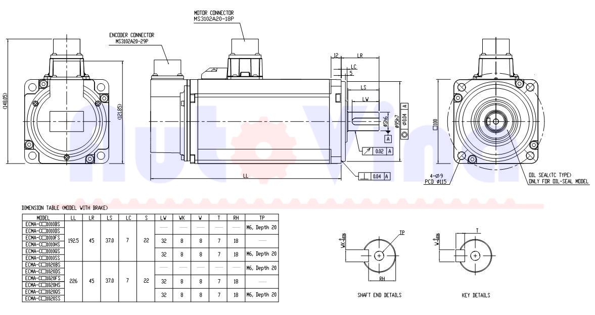 Kích thước động cơ Servo Delta ECMA-C21010SS