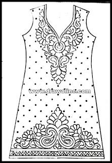 Simple longer neck design patterns on dress design/ladies suit design drawing for hand emroidery