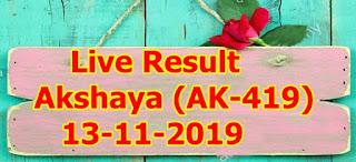 Akshaya Lottery (AK-419) 13/11/2019 Kerala Lottery Result