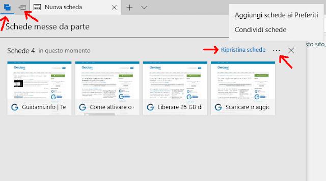 Microsoft Edge salvare e riaprire le schede internet aperte
