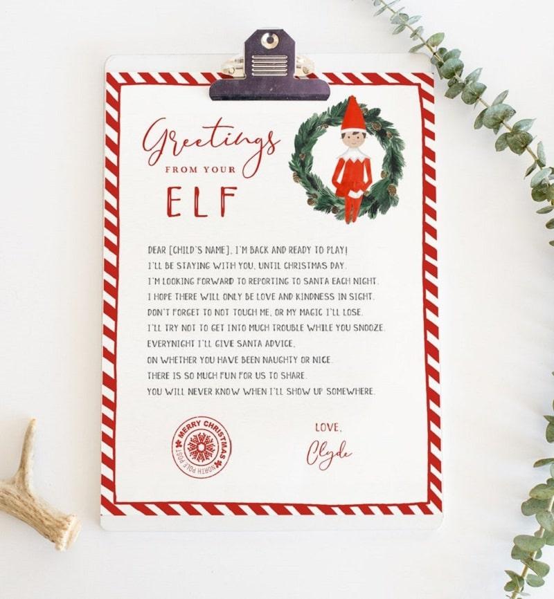 personalised elf arrival letter