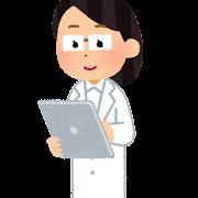 タブレットを使う人のイラスト(女性医師)