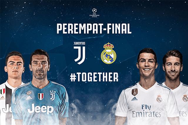 Juventus akan menghadapi Real Madrid di laga babak 8 besar Liga Champions musim 2017-2018