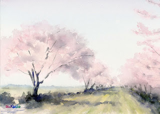 水彩画 さくら Cherry Blossom Watercolor