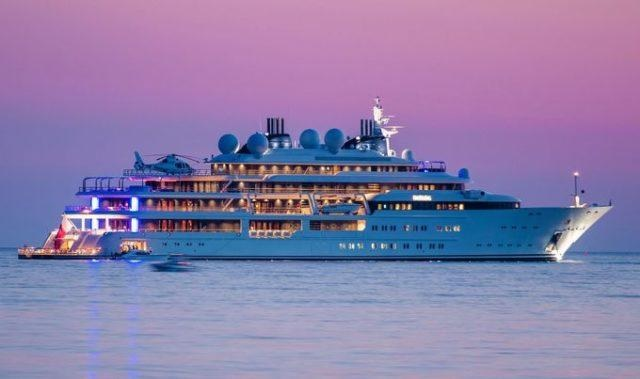 Super luxury Yacht Katara of Hamad Bin Khalifa Al-Thani anchored in Saranda