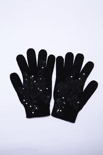 siyah yün eldiven kadın güpür dantelli