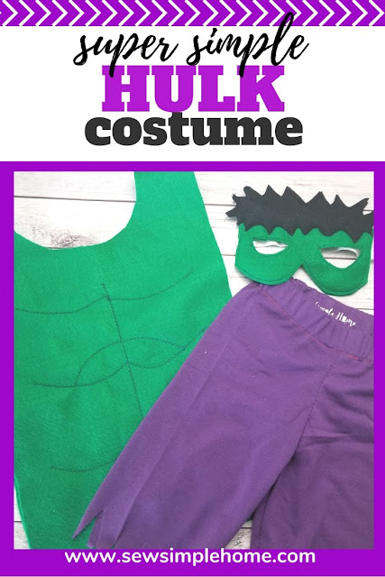 How to sew a diy hulk costume with free felt mask printable sewing pattern.