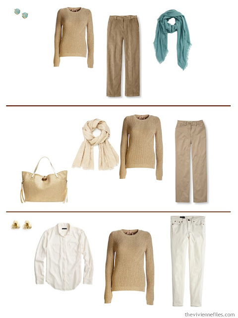Three capsule wardrobe outfits including a gold sweater