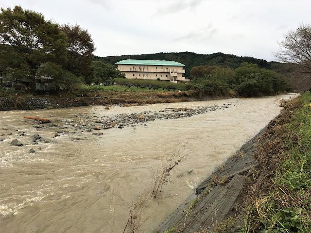 台風19号の豪雨で増水した成木川