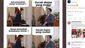 Viral Meme Jokowi Jawab Penyebab Banjir Kalsel, Semua Salah Hujan