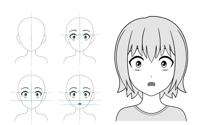 Takut gadis anime contoh menggambar