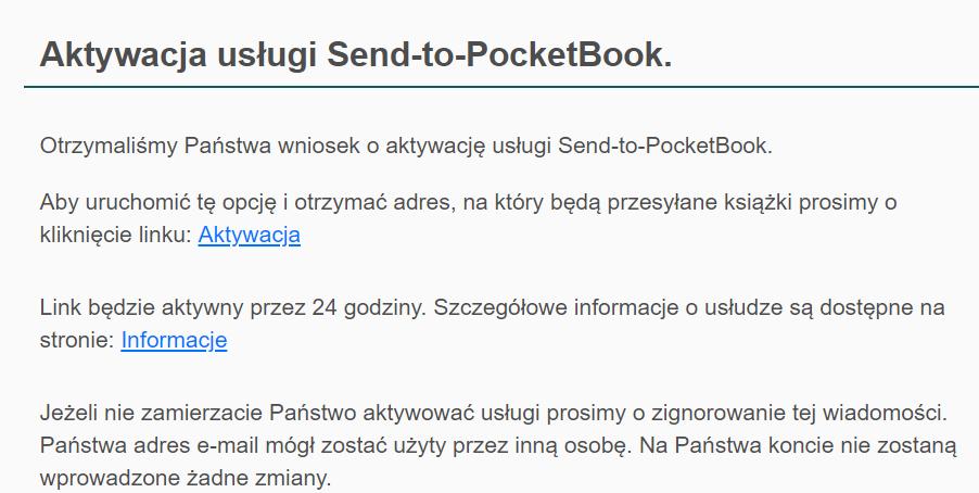 Fragment mejla z linkiem aktywacyjnym do usługi Send-To-PocketBook