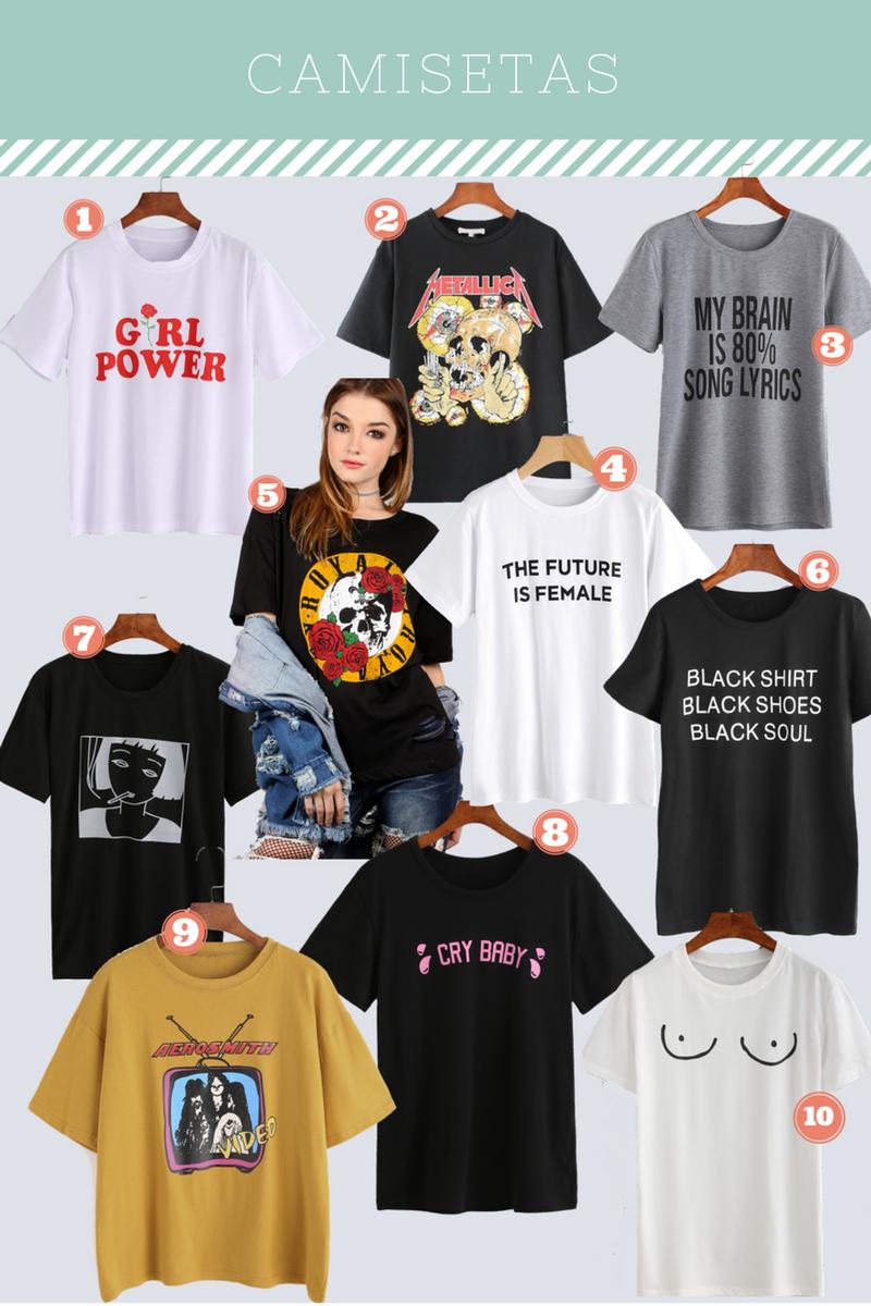 """blog-mad-souls-1. Camiseta Girl Power (R$32.96) // 2. Camiseta Metallica (R$52.73) // 3. Camiseta My Brain is 80% Lyrics (R$32.96) // 4. Camiseta The Future is Female (R$29.66) // 5. Camiseta Royalty (R$39.55) // 6. Camiseta Black Shirt Black Shoes Black Soul (R$32.96) // 7. Camiseta Girl (R$26.37) // 8. Camiseta Cry Baby ($32.96) // 9. Camiseta Aerosmith (R$46.14) // 10. Camiseta Mamilos Polêmicos (R$32.96)  E não é só de roupas pesadas que o inverno vive. Escolhi varias camisetas - tem algumas a preço de banana lá na Shein - e todas eu compraria em oversized - amo desde sempre isso. Uma das tendências desse ano é as camisetas com frases divertidas. Foi bem difícil escolher essas camisetas, tinha varias com bandas que amo, mas me contive e """"só"""" escolhi 10. Eu quero muito todas, mas se tivesse que escolher três delas, seriam a numero 1 que é Girl Power <3, e a 2/9 que são das minhas bandas favoritas - Metallica e Aerosmith - além disso a maioria das minhas camisetas de banda estão se desbotando </3   E é isso o post, não quis deixar ele muito longo por isso não fiz outras colagens com saias, calças e sapatos. Eu amei muita coisa da Shein, mas é uma pena que não deu pra colocar tudo. Eu já comprei muita roupa - na época em que aqui não tinha tanta opção -  dela e vem tudo certinho e é com uma boa qualidade Eu realmente tentei fazer um resumo de tudo e não ser repetitiva. Gosto de falar sobre roupas e tendências, só acho um pouco desnecessário ficar repetindo algo que já tem muito.  Iria gostar de saber se vocês já compraram  nessa loja, quais desses itens vocês gostariam de comprar e se gostou do formato do post. Tem dicas de outras peças ou tema de post? Vou ler e responder todos os comentários <3"""