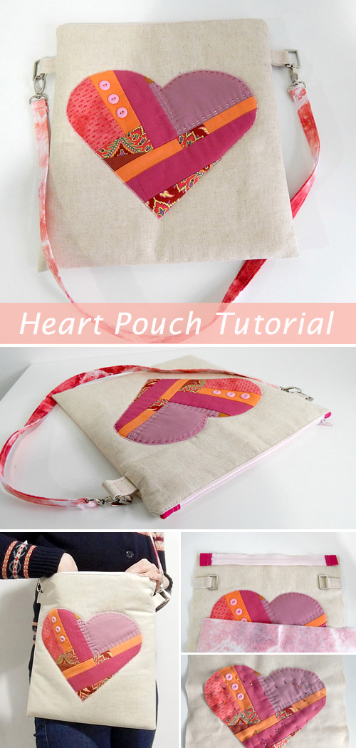 Scrappy Heart Zip Pouch Tutorial