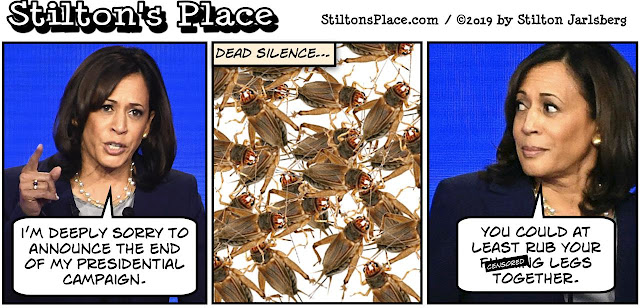 stilton's place, stilton, political, humor, conservative, cartoons, jokes, hope n' change, kamala harris, drops out, campaign, democrat