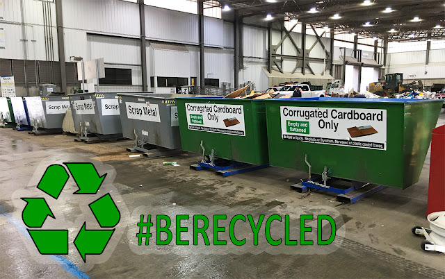 This is an image of a King County transfer center over laid with the recycling logo and text that reads #BERECYCLED
