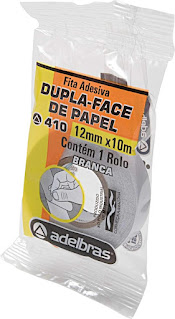 3 Unidades - Fita Dupla Face, Flow-Pack, 12mmX10mts, Adelbras