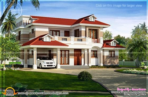 Red roof house design