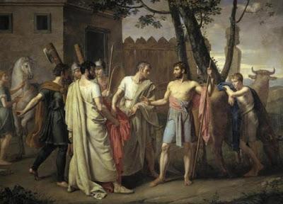 Cincinnato lascia l'aratro per la dittatura romana - Juan Antonio Ribera, c. 1806.