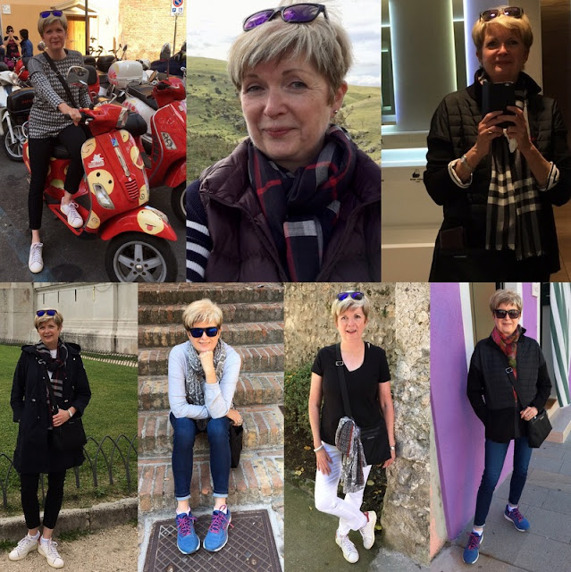 various shots of a woman in jeans, sneakers, sweaters posing while on vacation