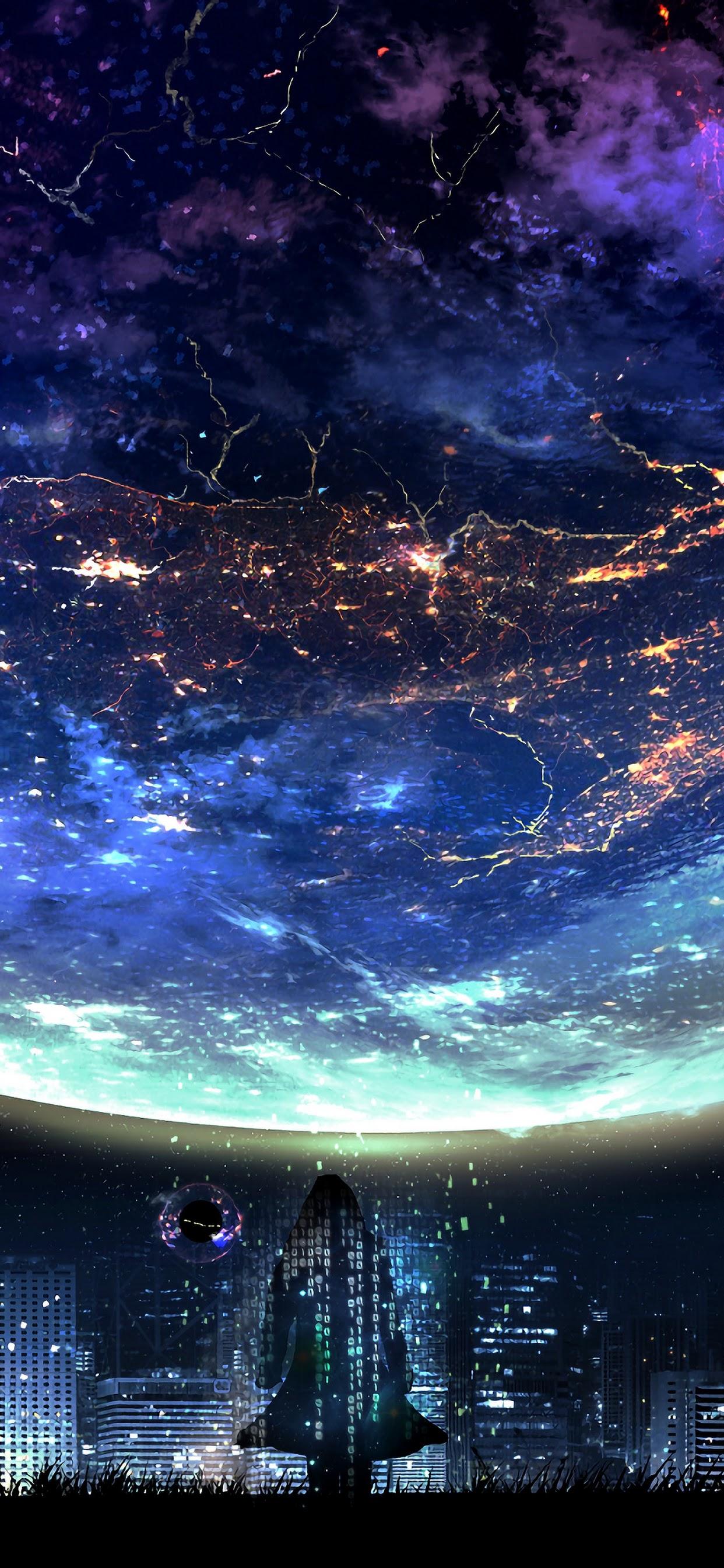 Planet Night City Landscape Scenery Anime 4k Wallpaper 117