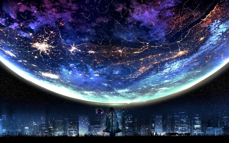planet night city landscape scenery anime uhdpaper.com 4K 117