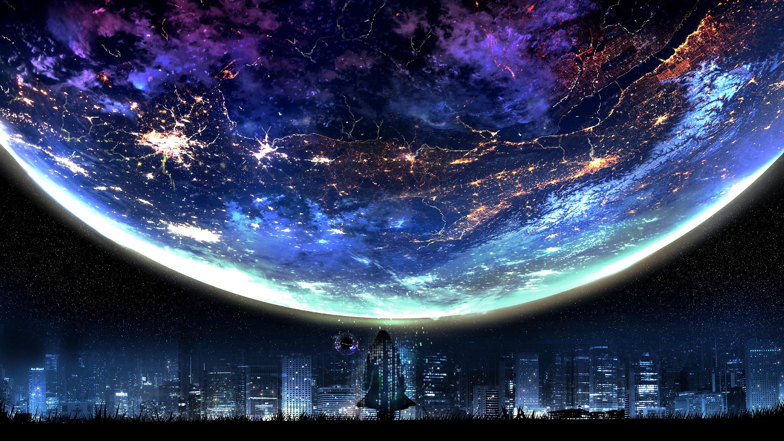 Planet, Night, City, Landscape, Scenery, Anime, 4K, #117 ...