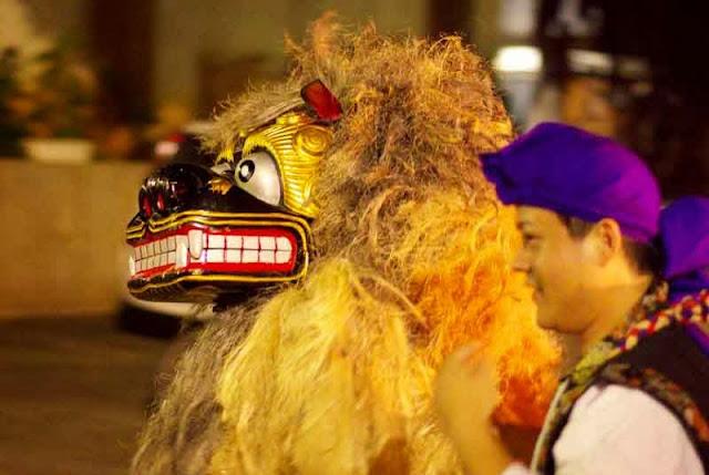 dancing lion dog and handler