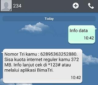 Cara Cek Kuota 3 dengan SMS