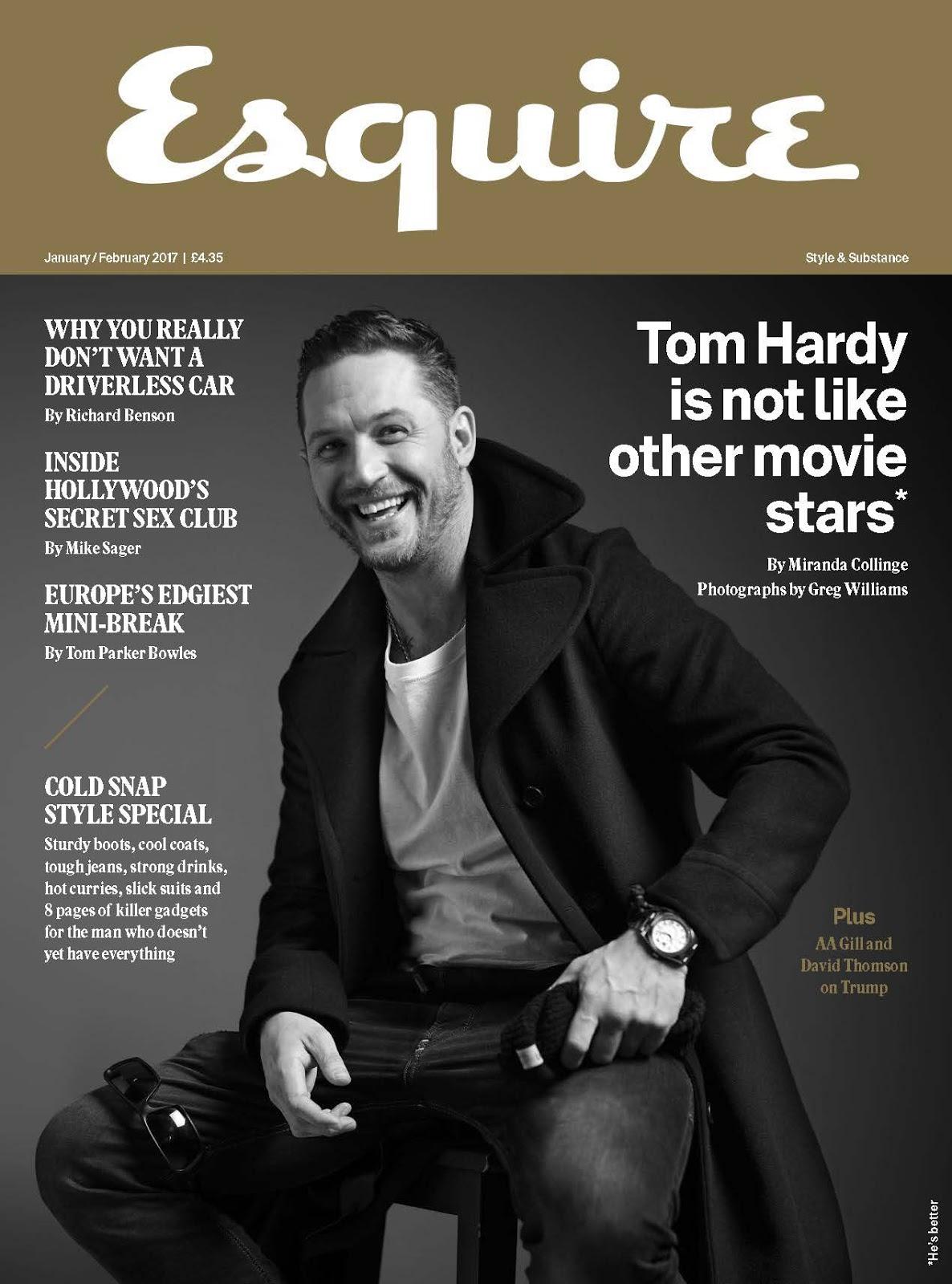 Tom Hardy es fotografiado a blanco y negro para el número de Enero de Esquire UK por Greg Williams