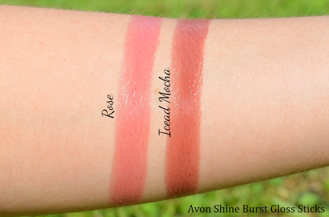 Avon Shine Burst Gloss Stick Iced Mocha & Rose Swatches
