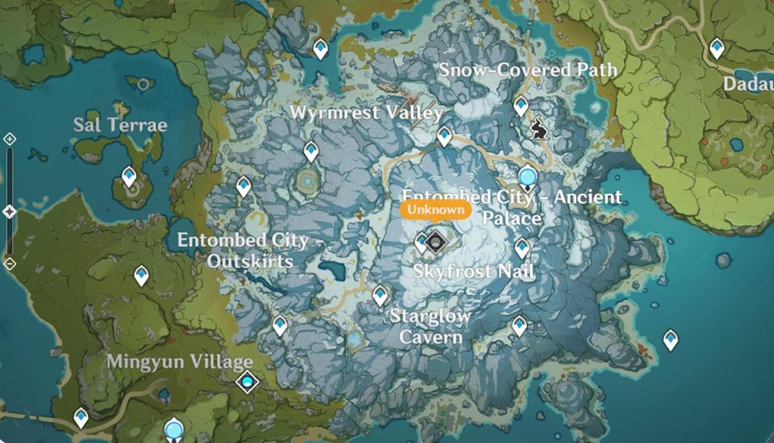 Dragonspine Genshin Impact Map Dengan 1 Statue Of The Seven Retuwit