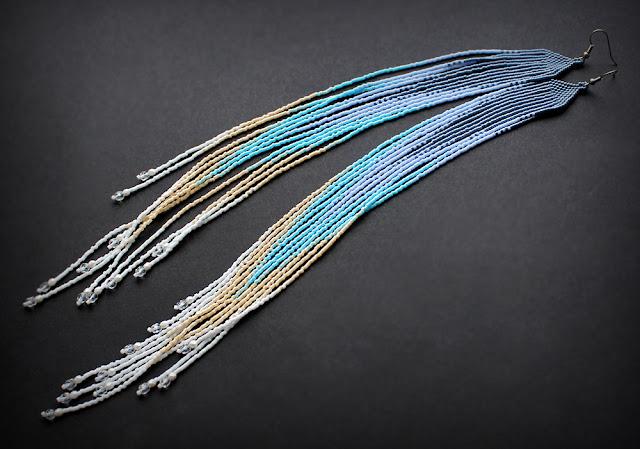 купить авторские украшения из бисера в стиле бохо очень длинные серьги до груди длиной ниже плеч купить