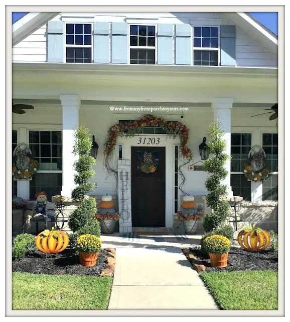 Fall -Porch-Suburban-Farmhouse-white-mums-pumpkins-spiral shrubs-From My Front Porch To Yours
