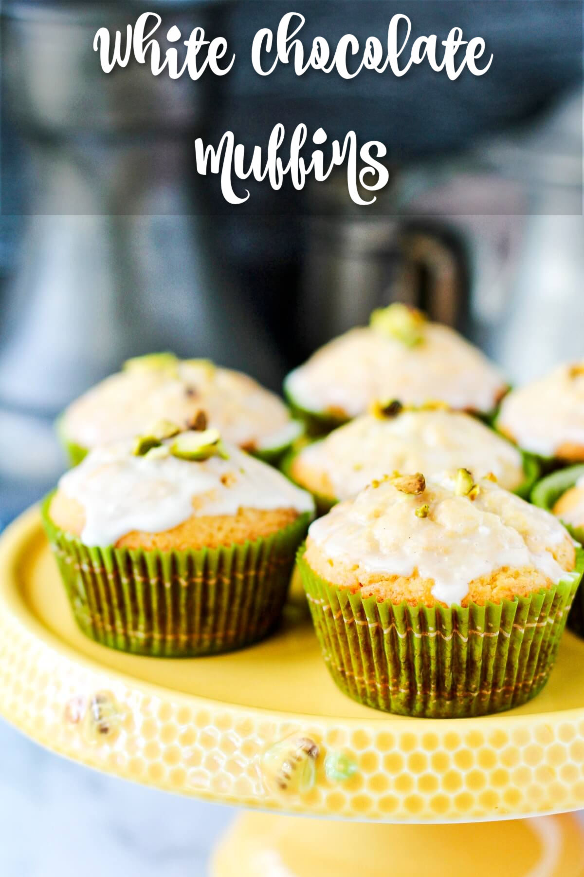 White Chocolate Muffins with a Pistachio Glaze and chopped pistacchios