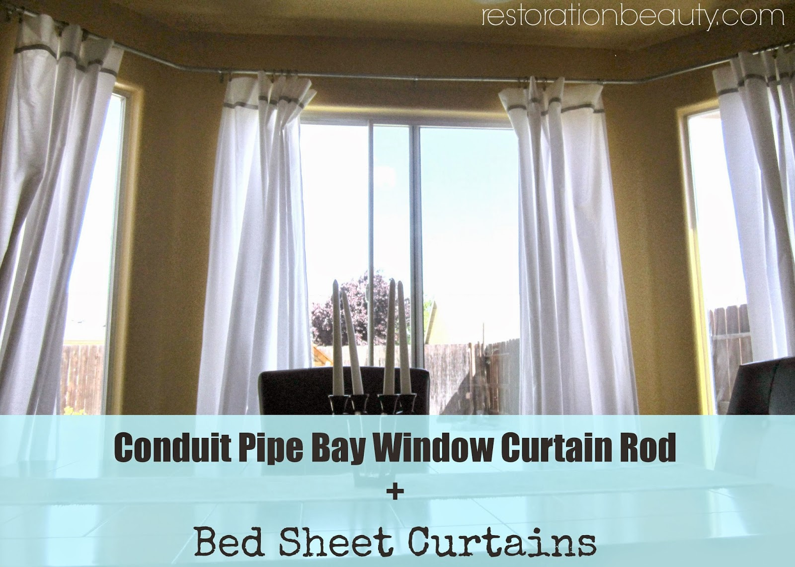 bay window kitchen curtains red aid mixer restoration beauty conduit pipe curtain rod