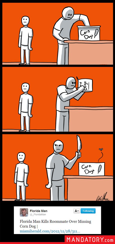 Comic of Florida Man killing his roomate