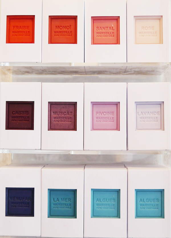 Multi-coloured, Pantone-inspired Marseille soaps in a variety of scents