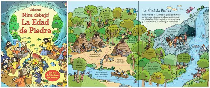 Libro informativo prehistoria Mira debajo la edad de piedra Usborne