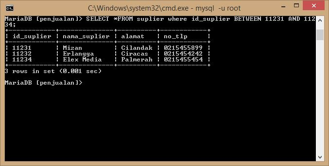 menampilkan data in like group dan between database mysql