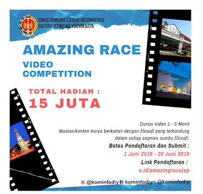 Lomba Amazing Race Video Competition berhadiah total 15 juta rupiah Diskominfo DIY 2019