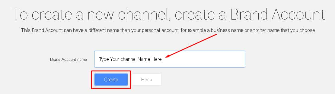Create A new youtube channel