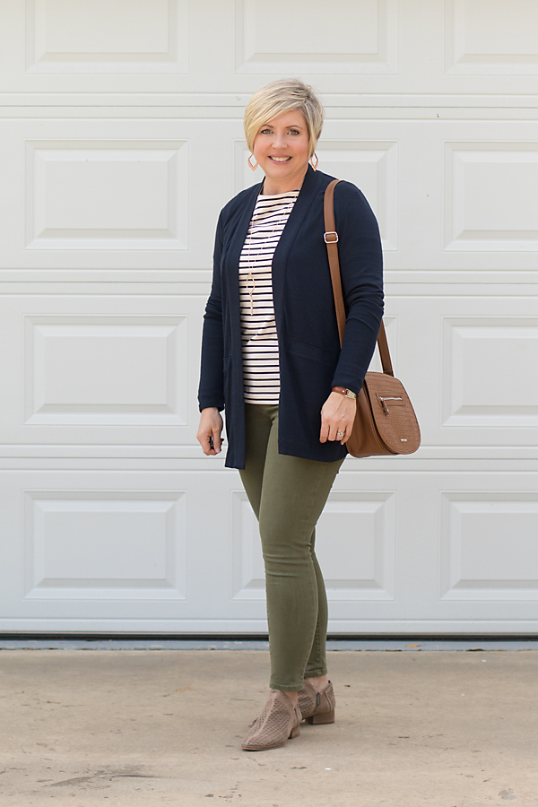 olvie jeans and cardigan outfit