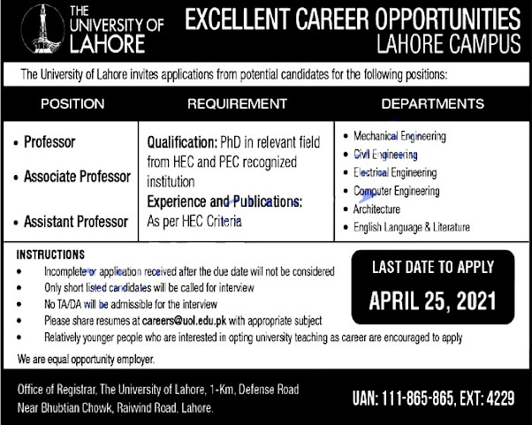 The University of Lahore Punjab UOl Lahore Campus April 2021 Latest Jobs