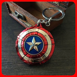 Captain America Shield Spinning Star Keychain Pendant Keyring