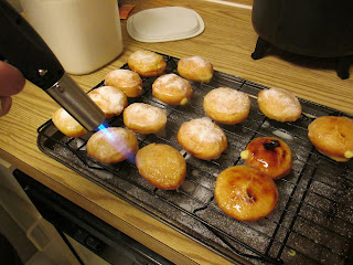 torching creme brulee donuts